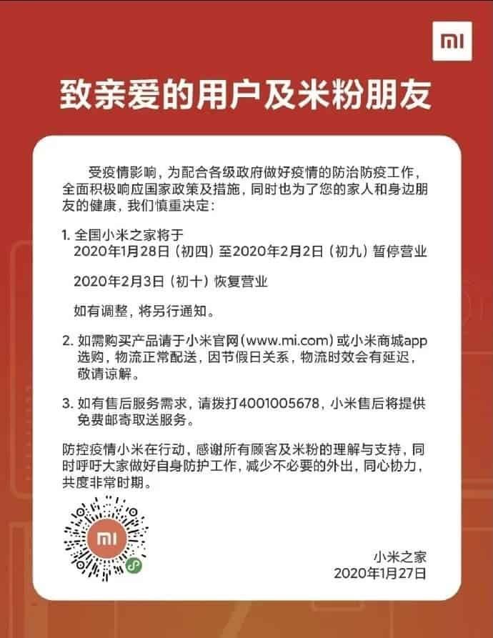 Coronavírus faz Xiaomi fechar lojas na China