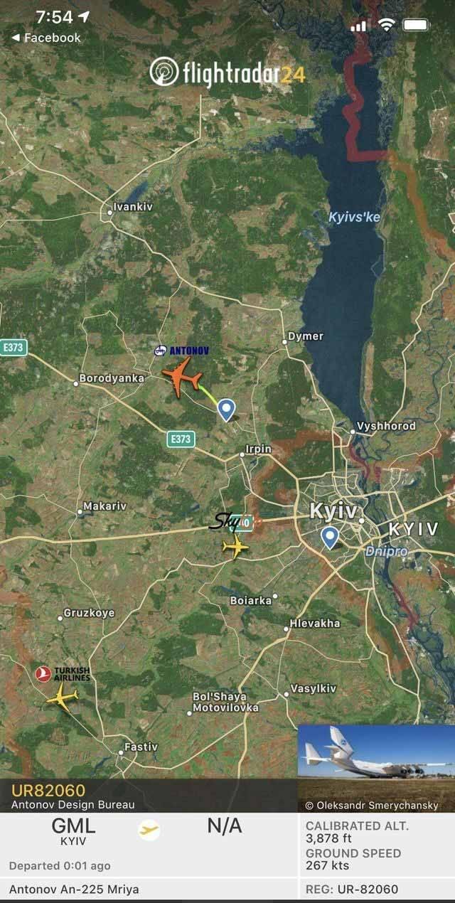 FlightRadar24.com mostra AN 225 em movimento