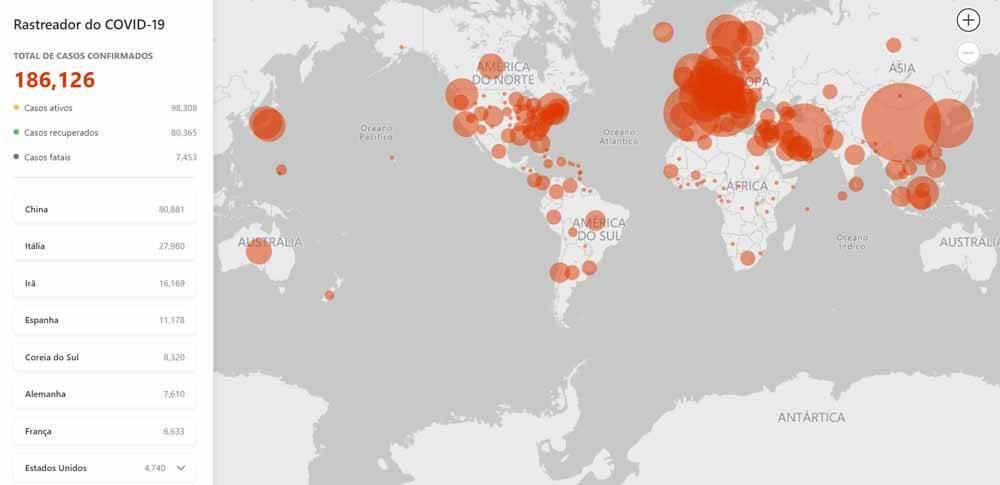 Microsoft lança mapa que acompanha o avanço do Covid-19 em tempo real