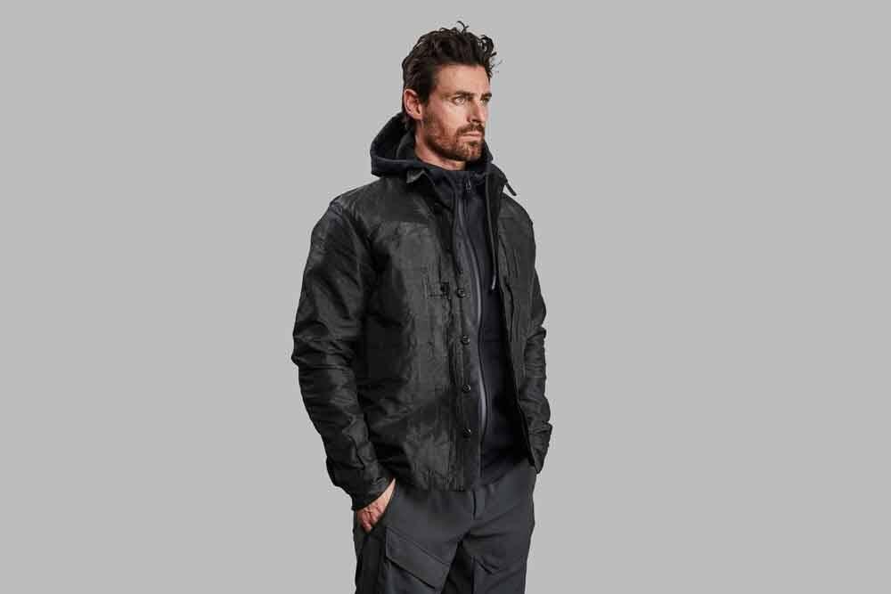 Todas as fibras da jaqueta são feitas de Dyneema