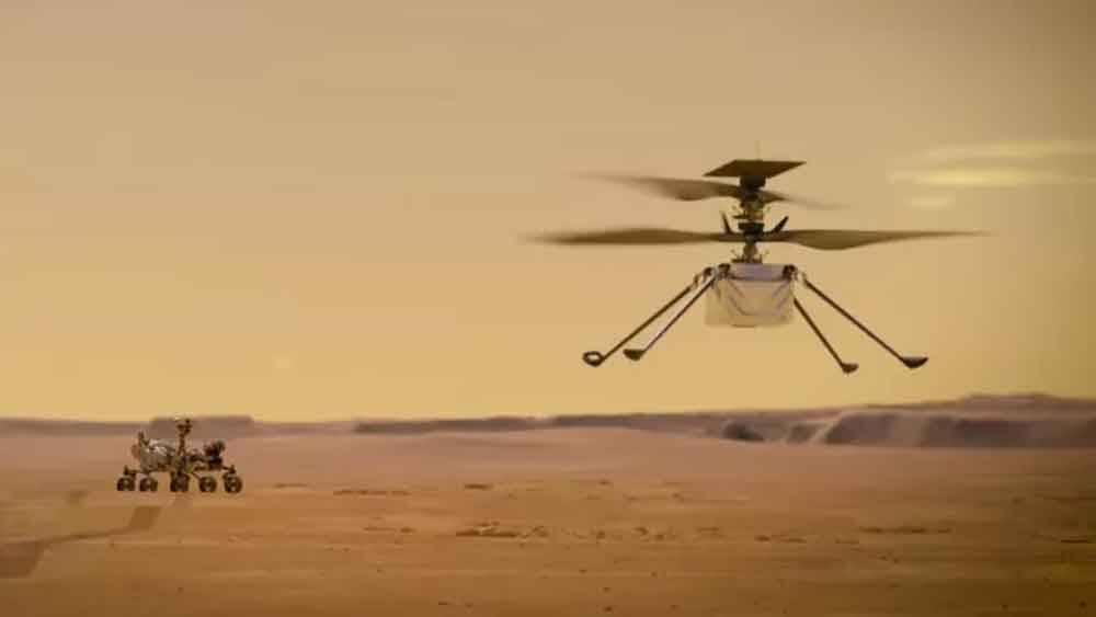 NASA aciona o helicóptero Ingenuity Mars no espaço pela 1ª vez. Foto: nasa/Divulgação