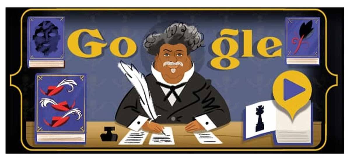 Google homenageia Alexandre Dumas com Doodle especial. Foto: reprodução