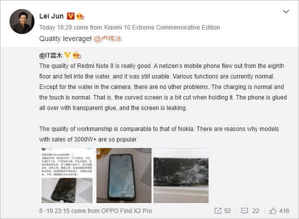 Lei Jun compartilhou a publicação em sua conta oficial. Foto: reprodução