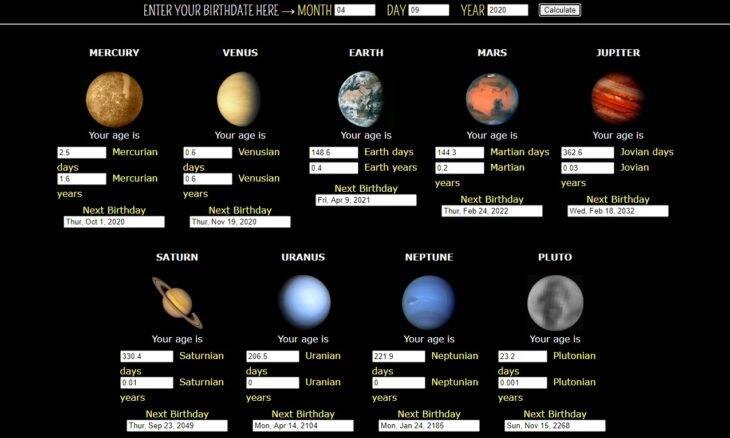 Descubra qual seria a sua idade em outros planetas