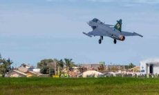 Primeiro voo do Caça F-39E Gripen no Brasil. Foto: reprodução Instagram