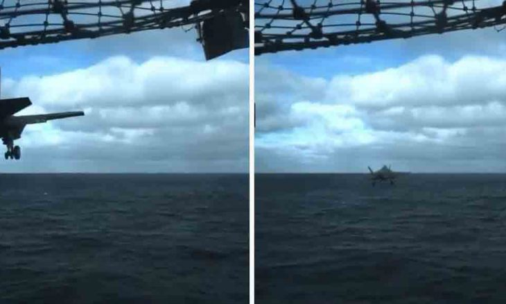 Caça F-35C passa raspando no mar em lançamento de porta-aviões; veja o vídeo. Foto: Reprodução / Instagram