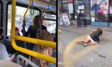 Vídeo do TikTok com mulher sendo empurrada de ônibus viraliza; veja. Foto: Reprodução Twitter