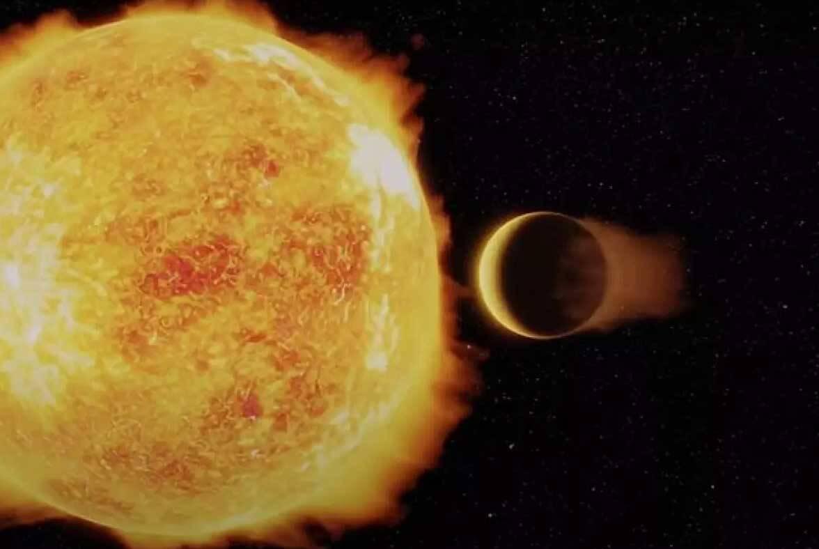 Uma ilustração artística do LTT 9779b, um exoplaneta ultraquente de Netuno que orbita sua estrela hospedeira em menos de um dia. Imagem: Ricardo Ramirez, Universidad de Chile