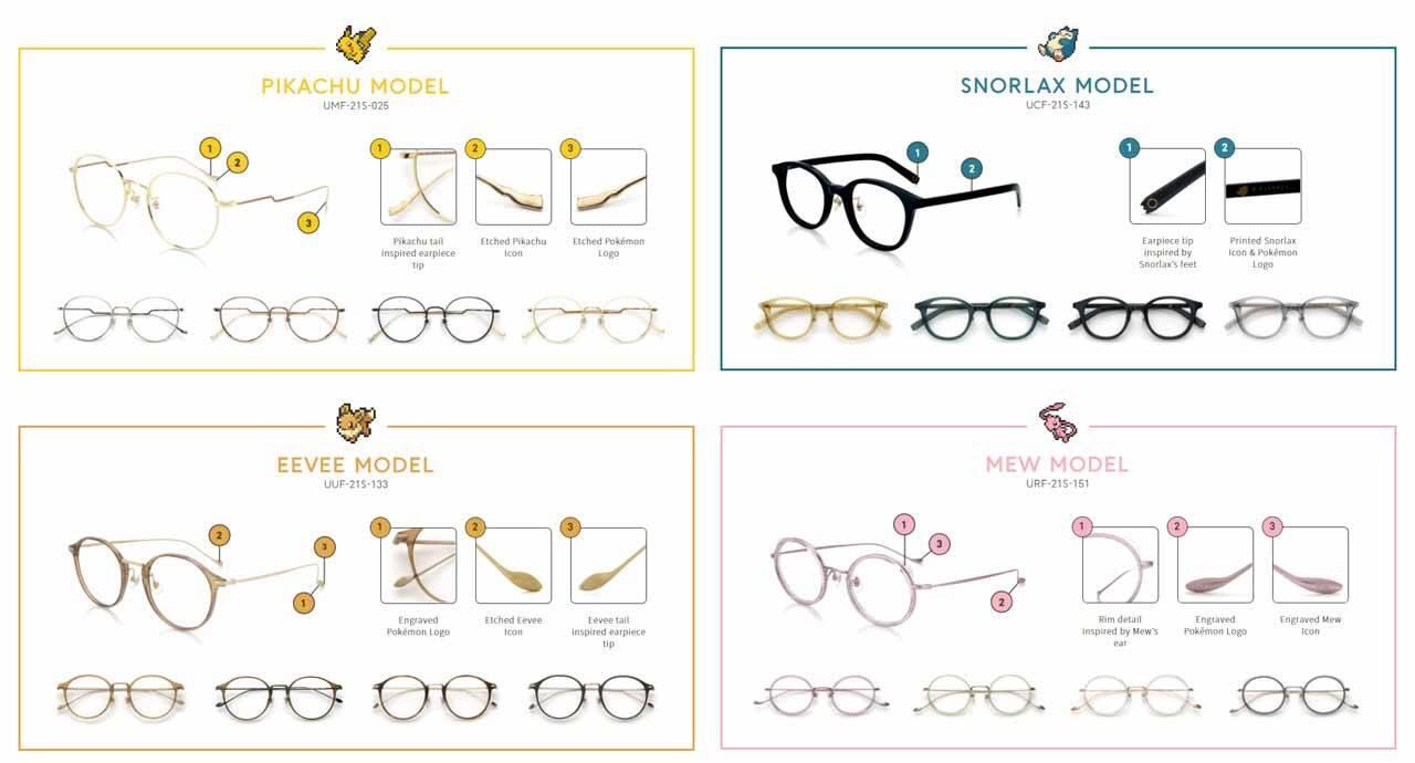 Nova coleção de óculos  inspirada em personagens Pokémon  é lançada no Japão. Foto: Divulgação