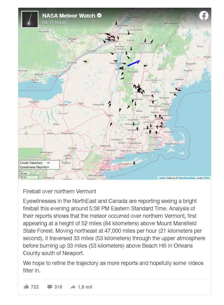 Bola de fogo voa sobre o Nordeste dos EUA a mais de  75 mil km/h