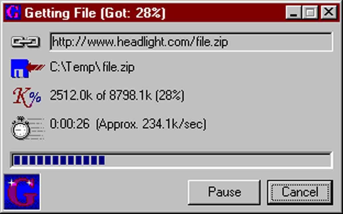 Além do seu download ser lento, se a internet caísse, você poderia perder tudo o que tinha baixado até lá. Programas como o Get Right permitiam que você retomasse os downloads do meio.