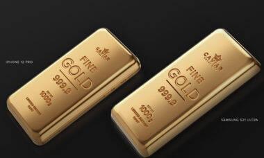 Russa Caviar cria iPhone 12 e Samsung S21 com carcaça em ouro puro