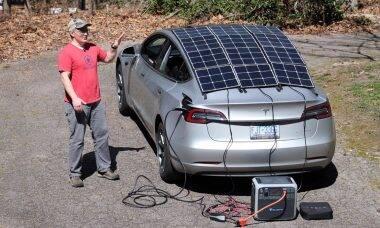 YouTuber mostra o que acontece ao ligar um Tesla em painéis solares