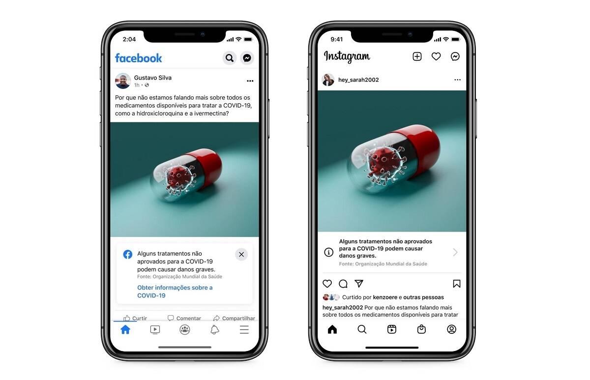 Covid-19: Facebook e Instagram colocam selo em conteúdos sobre tratamentos sem comprovação científica