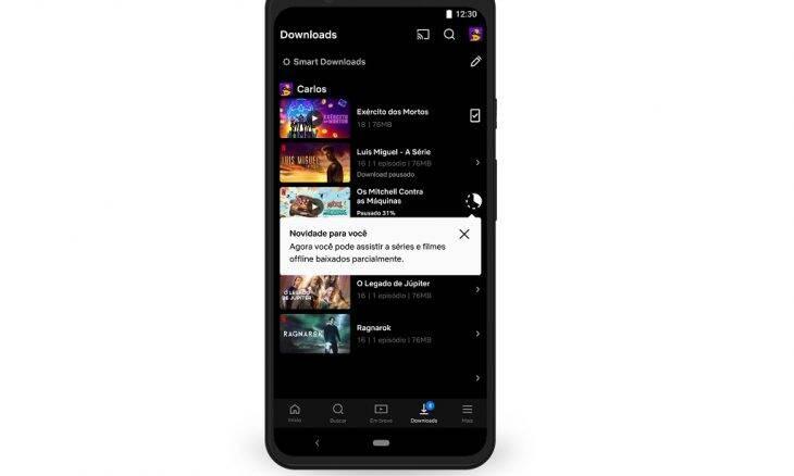Netflix para Android permite assisir conteúdo parcialmente baixado