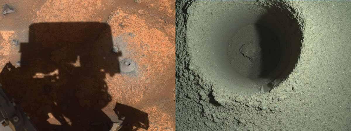 Perseverance perfura solo de Marte em busca de amostras. Foto: Nasa/Divulgação